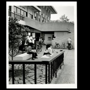 Close up of Ferguson Center West Side, 1970s