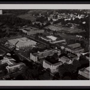 Aerial View of Ferguson Center and Woods Quad, 1979
